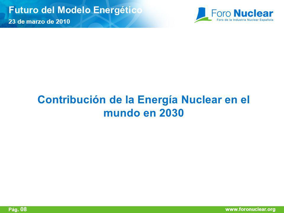 www.foronuclear.org Contribución de la Energía Nuclear en el mundo en 2030 Futuro del Modelo Energético 23 de marzo de 2010 www.foronuclear.org Pág. 0