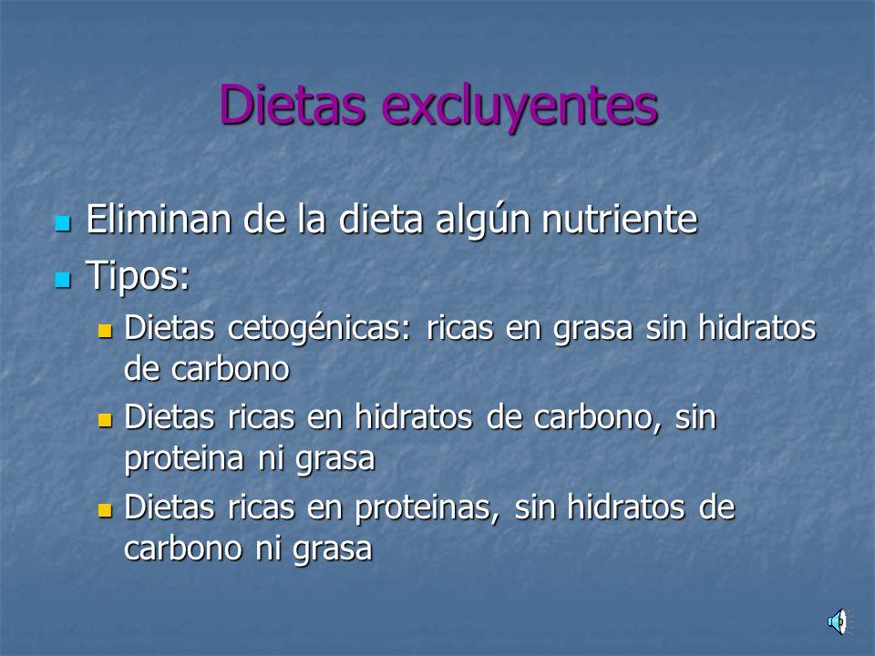 Dietas disociativas Éxito: Éxito: -Ordenan los hábitos alimentarios -Son hipocalóricas Ejemplos: Dieta disociada de Hay, Régimen de Shellon, Dieta del