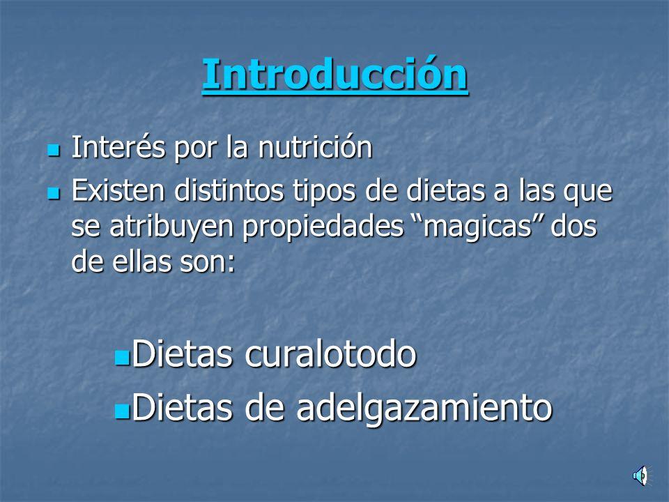 Introducción Interés por la nutrición Interés por la nutrición Existen distintos tipos de dietas a las que se atribuyen propiedades magicas dos de ellas son: Existen distintos tipos de dietas a las que se atribuyen propiedades magicas dos de ellas son: Dietas curalotodo Dietas curalotodo Dietas de adelgazamiento Dietas de adelgazamiento
