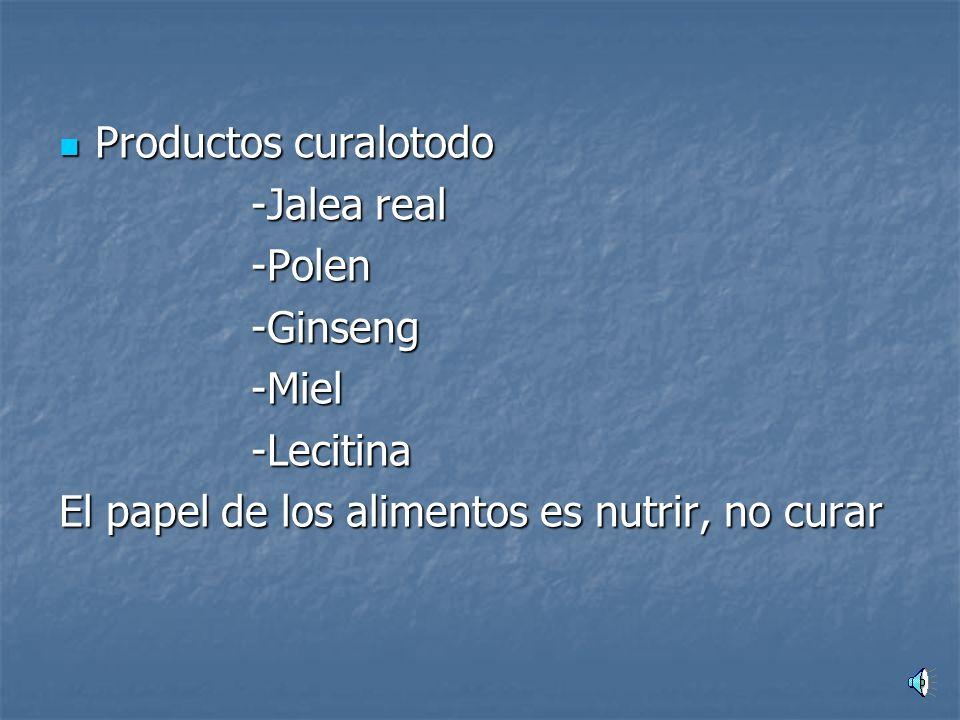 Productos curalotodo Productos curalotodo -Jalea real -Polen-Ginseng-Miel-Lecitina El papel de los alimentos es nutrir, no curar