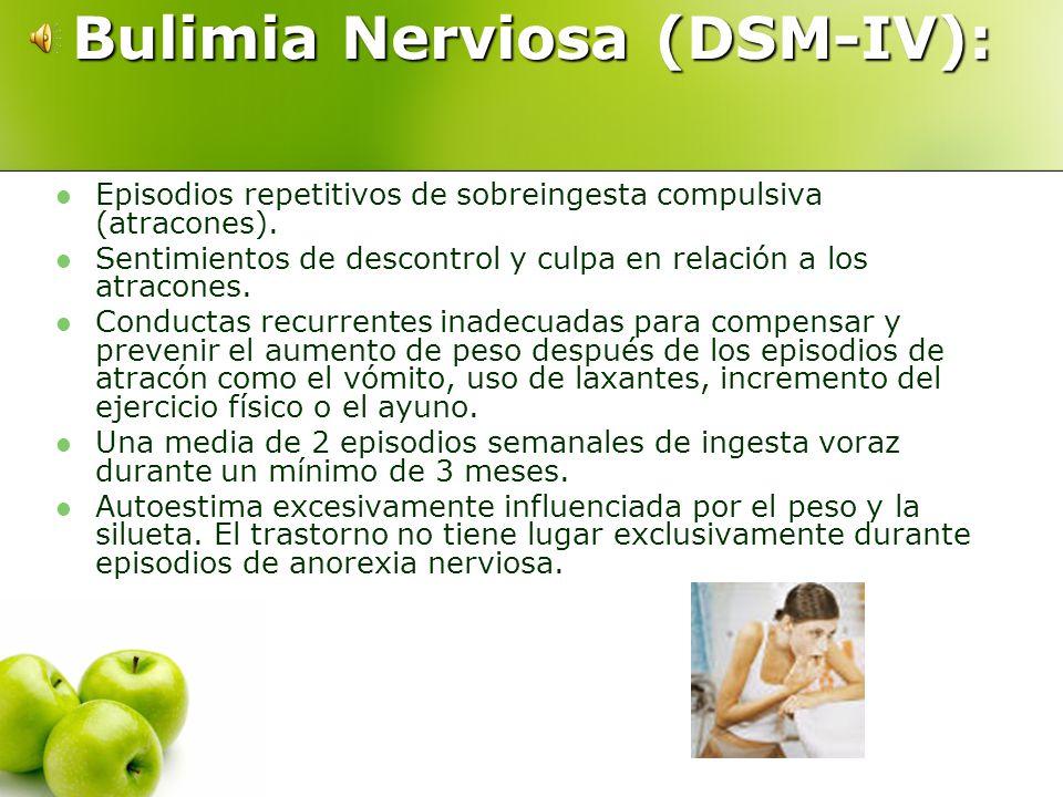 Anorexia nerviosa Subtipo Bulímico: Durante el periodo de Anorexia nerviosa la persona presenta episodios recurrentes de sobreingesta. Subtipo Restric