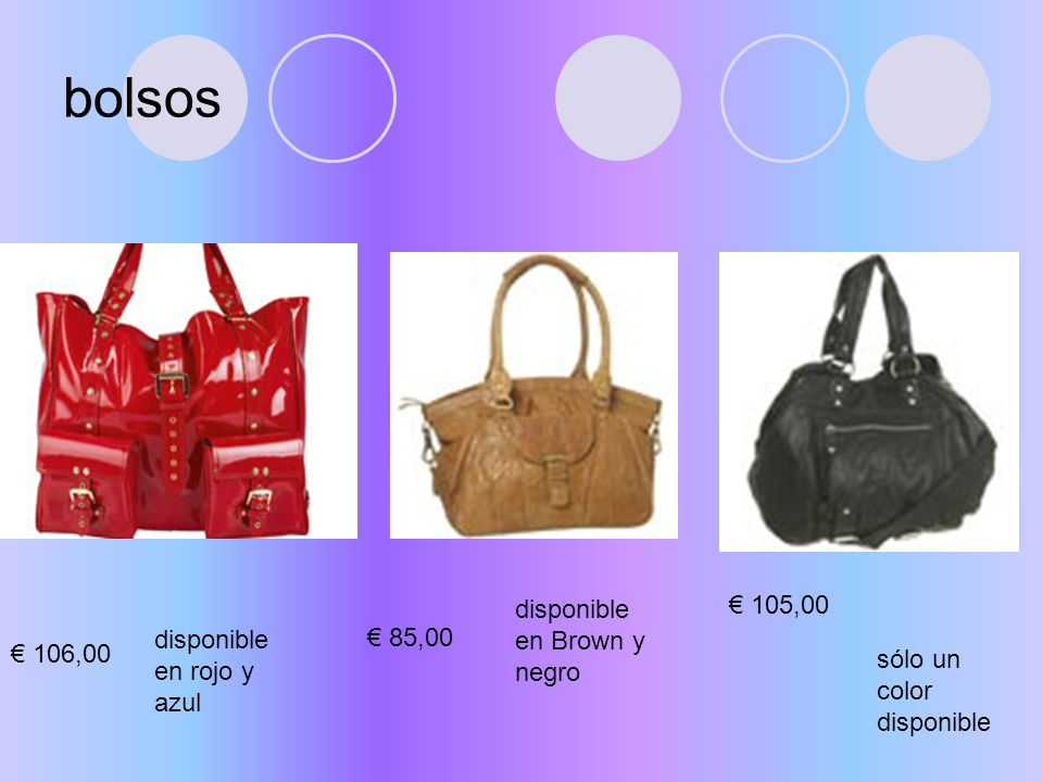 bolsos 106,00 disponible en rojo y azul 85,00 disponible en Brown y negro 105,00 sólo un color disponible