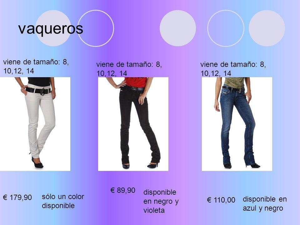 faldas viene de tamaño: 8, 10,12, 14 disponible en azul y negro 59,00 disponible en negro, azul y violeta 45,00 viene de tamaño: 8, 10,12, 14 disponible en bronce y negro 48,80