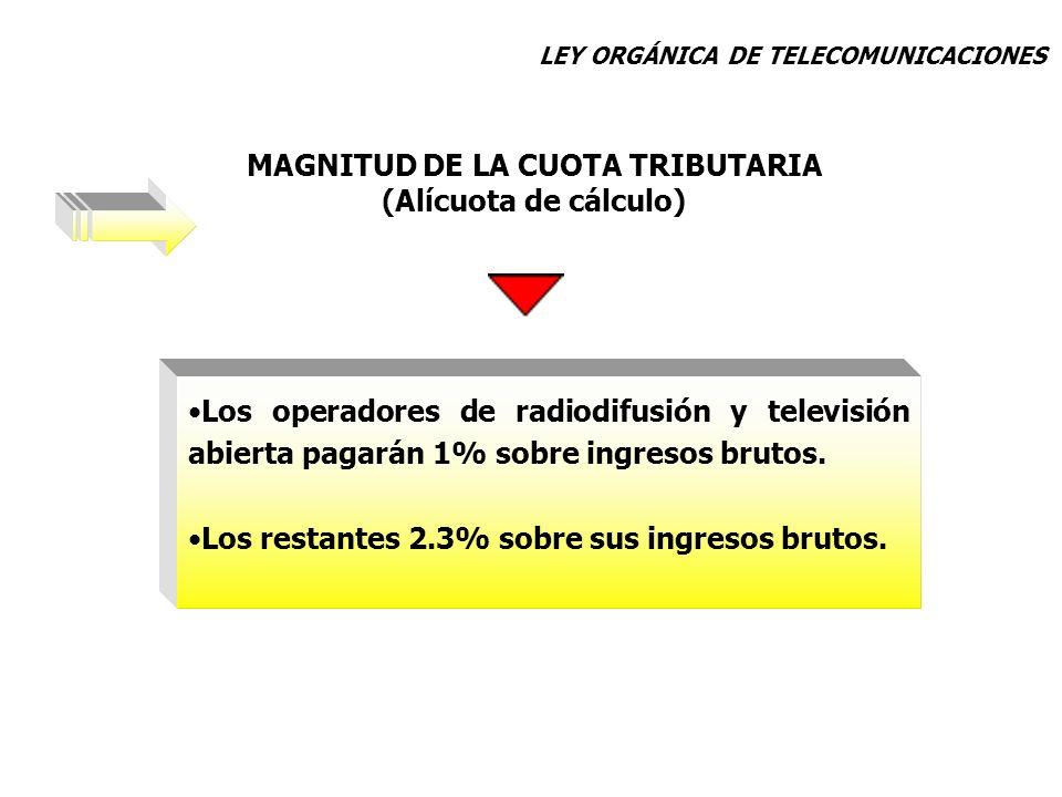 Los operadores de radiodifusión y televisión abierta pagarán 1% sobre ingresos brutos. Los restantes 2.3% sobre sus ingresos brutos. MAGNITUD DE LA CU
