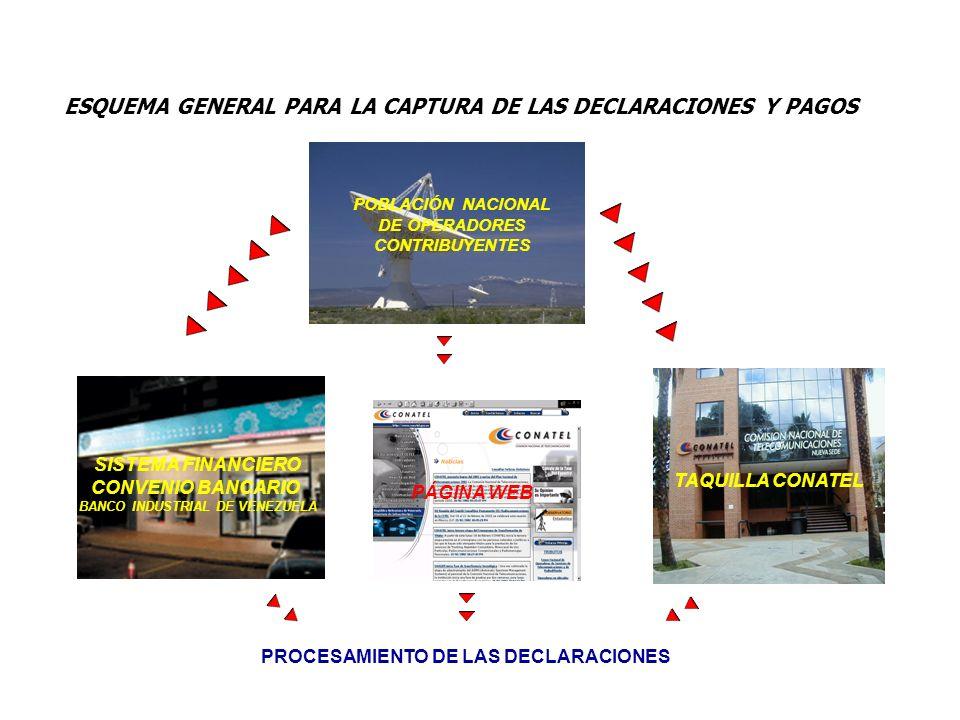 ESQUEMA GENERAL PARA LA CAPTURA DE LAS DECLARACIONES Y PAGOS SISTEMA FINANCIERO CONVENIO BANCARIO BANCO INDUSTRIAL DE VENEZUELA POBLACIÓN NACIONAL DE