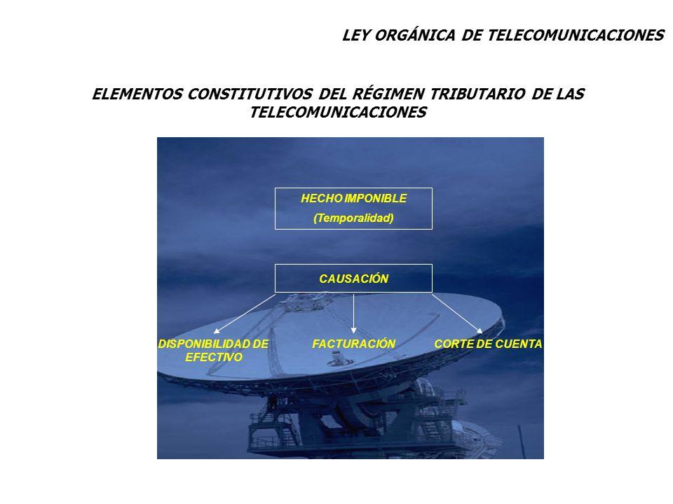 ELEMENTOS CONSTITUTIVOS DEL RÉGIMEN TRIBUTARIO DE LAS TELECOMUNICACIONES HECHO IMPONIBLE (Temporalidad) CAUSACIÓN DISPONIBILIDAD DE EFECTIVO FACTURACI