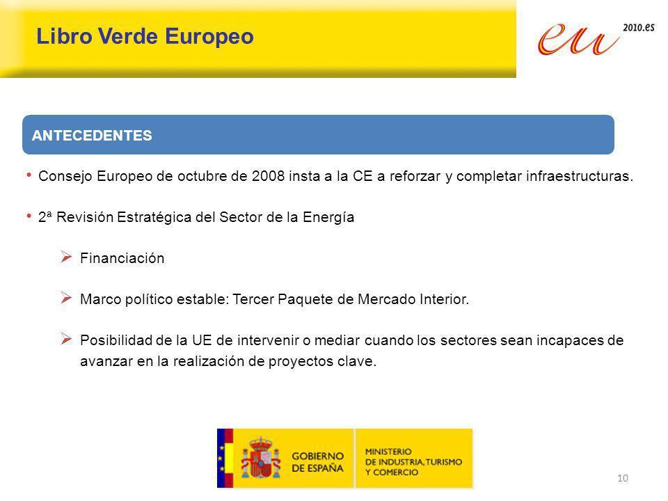 10 Libro Verde Europeo Consejo Europeo de octubre de 2008 insta a la CE a reforzar y completar infraestructuras. 2ª Revisión Estratégica del Sector de