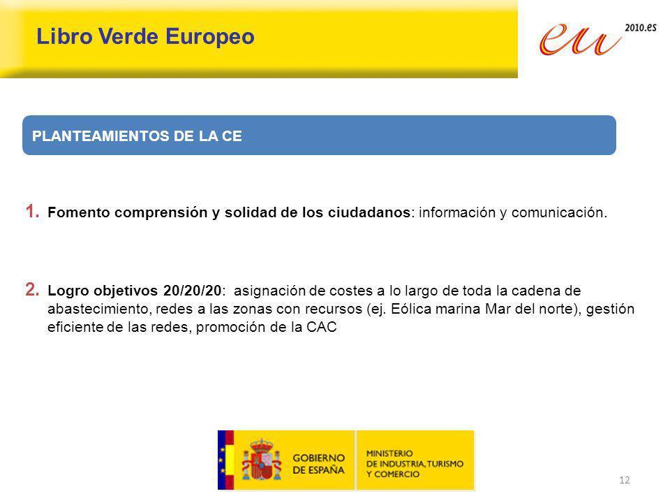 12 Libro Verde Europeo 1. Fomento comprensión y solidad de los ciudadanos: información y comunicación. 2. Logro objetivos 20/20/20: asignación de cost