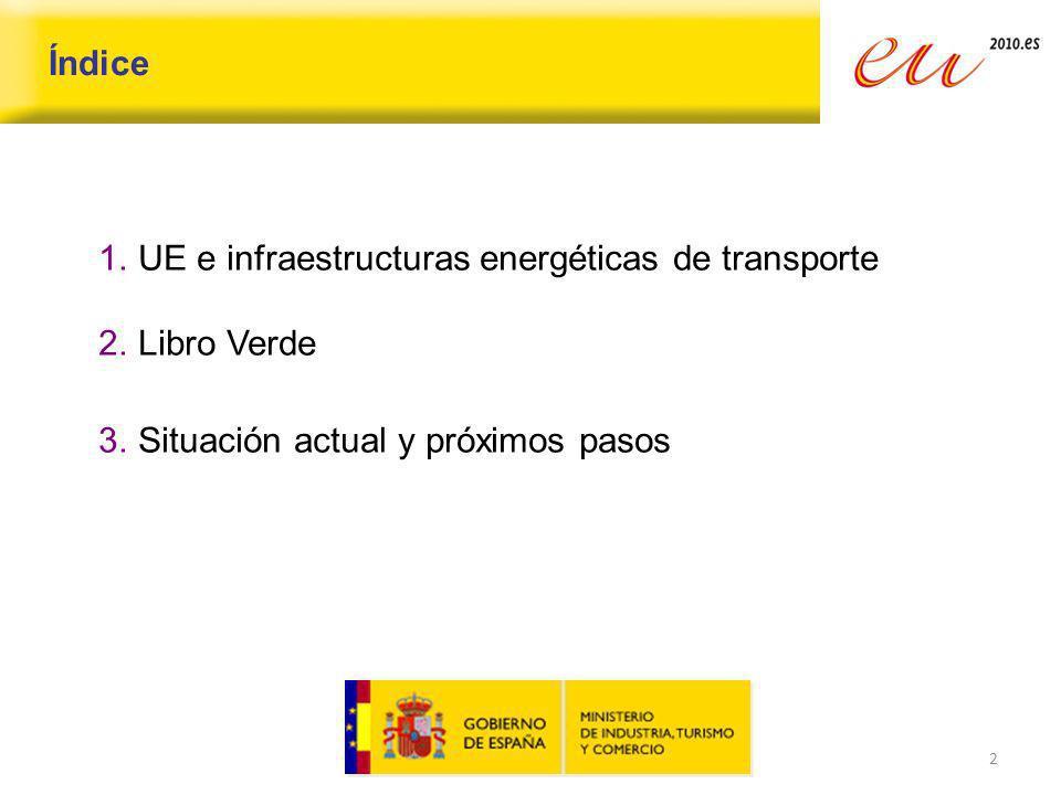 2 Índice 1.UE e infraestructuras energéticas de transporte 2.Libro Verde 3.Situación actual y próximos pasos