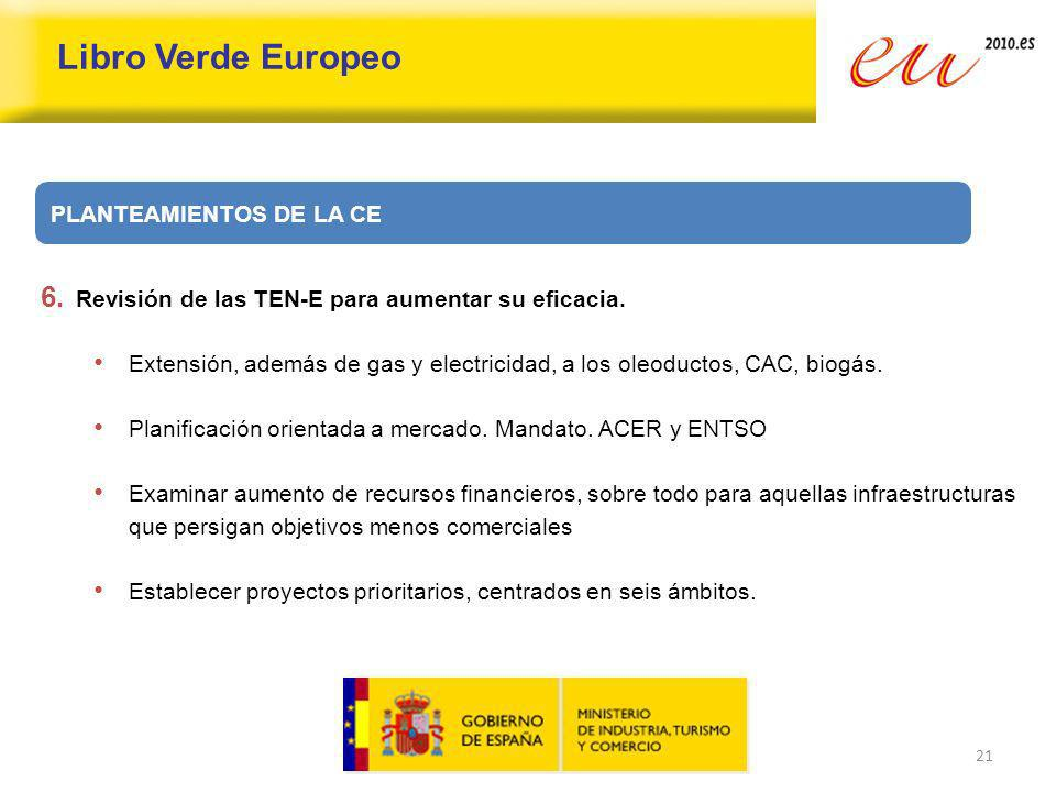 21 Libro Verde Europeo PLANTEAMIENTOS DE LA CE 6. Revisión de las TEN-E para aumentar su eficacia. Extensión, además de gas y electricidad, a los oleo