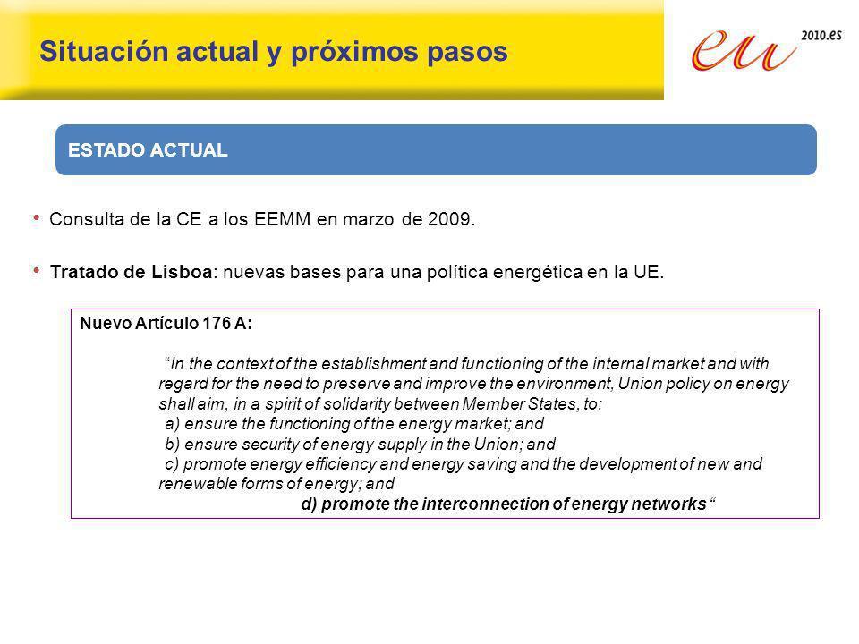 Situación actual y próximos pasos Consulta de la CE a los EEMM en marzo de 2009. Tratado de Lisboa: nuevas bases para una política energética en la UE