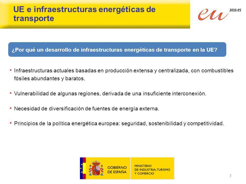 4 UE e infraestructuras energéticas de transporte SEGURA SOSTENIBLE COMPETITIVA Hacia una Red Europea de Energía Segura, Sostenible y Competitiva...