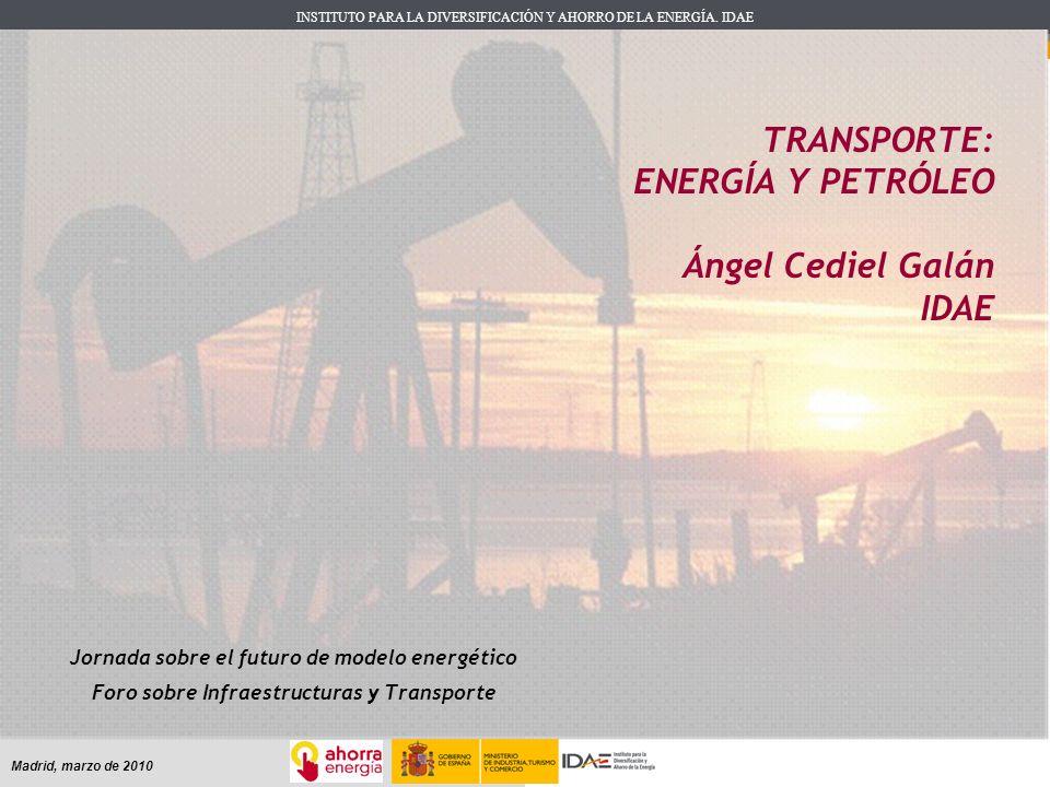 INSTITUTO PARA LA DIVERSIFICACIÓN Y AHORRO DE LA ENERGÍA. IDAE Madrid, marzo de 2010 TRANSPORTE: ENERGÍA Y PETRÓLEO Ángel Cediel Galán IDAE Jornada so