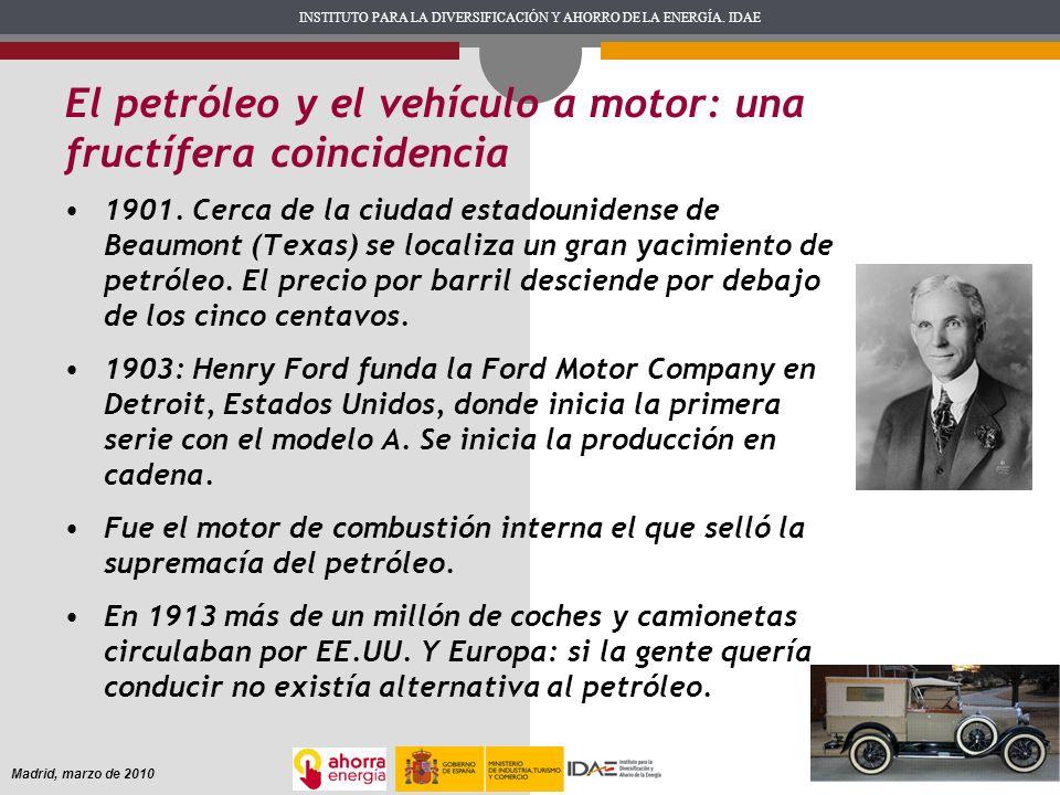 INSTITUTO PARA LA DIVERSIFICACIÓN Y AHORRO DE LA ENERGÍA. IDAE Madrid, marzo de 2010 El petróleo y el vehículo a motor: una fructífera coincidencia 19