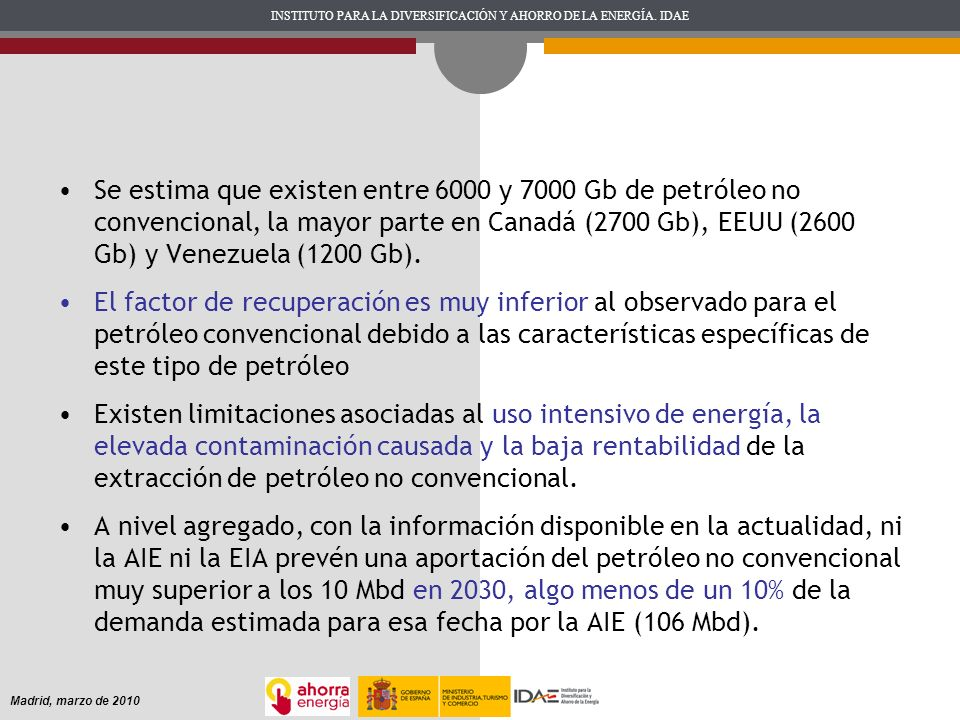 INSTITUTO PARA LA DIVERSIFICACIÓN Y AHORRO DE LA ENERGÍA. IDAE Madrid, marzo de 2010 Se estima que existen entre 6000 y 7000 Gb de petróleo no convenc