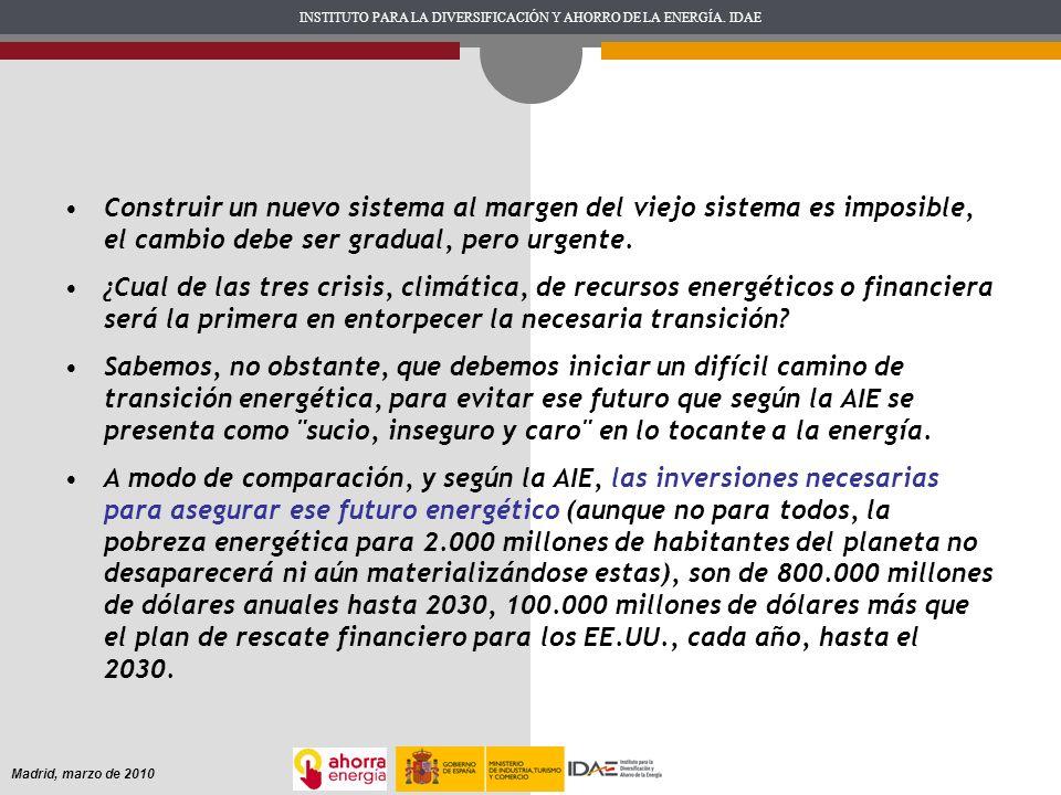 INSTITUTO PARA LA DIVERSIFICACIÓN Y AHORRO DE LA ENERGÍA. IDAE Madrid, marzo de 2010 Construir un nuevo sistema al margen del viejo sistema es imposib