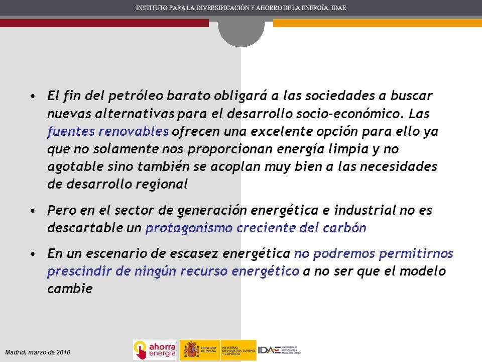 INSTITUTO PARA LA DIVERSIFICACIÓN Y AHORRO DE LA ENERGÍA. IDAE Madrid, marzo de 2010 El fin del petróleo barato obligará a las sociedades a buscar nue