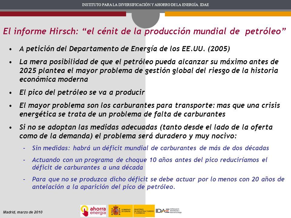 INSTITUTO PARA LA DIVERSIFICACIÓN Y AHORRO DE LA ENERGÍA. IDAE Madrid, marzo de 2010 El informe Hirsch: el cénit de la producción mundial de petróleo