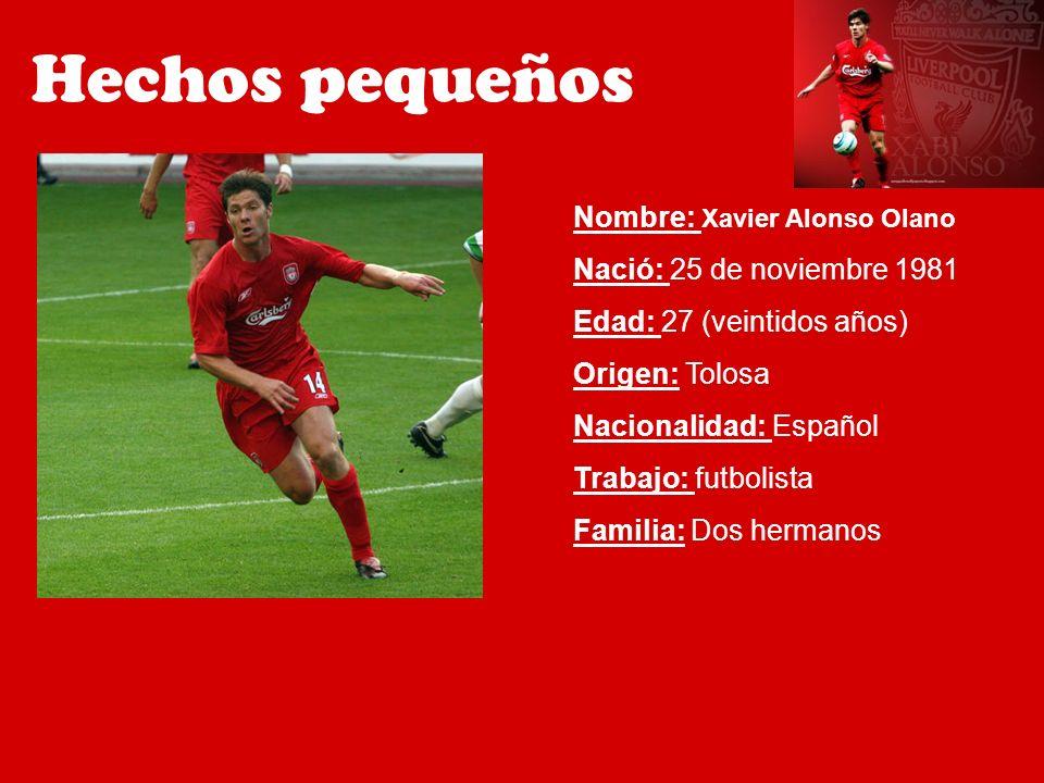 Nombre: Xavier Alonso Olano Nació: 25 de noviembre 1981 Edad: 27 (veintidos años) Origen: Tolosa Nacionalidad: Español Trabajo: futbolista Familia: Do