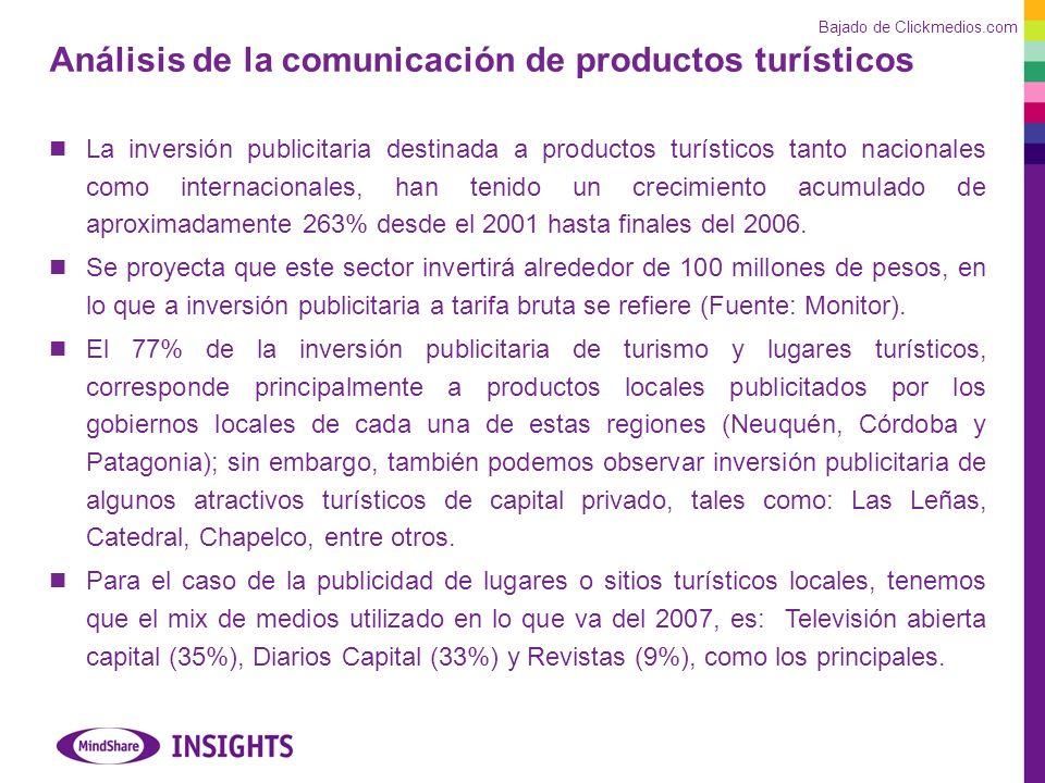 Análisis de la comunicación de productos turísticos La inversión publicitaria destinada a productos turísticos tanto nacionales como internacionales, han tenido un crecimiento acumulado de aproximadamente 263% desde el 2001 hasta finales del 2006.