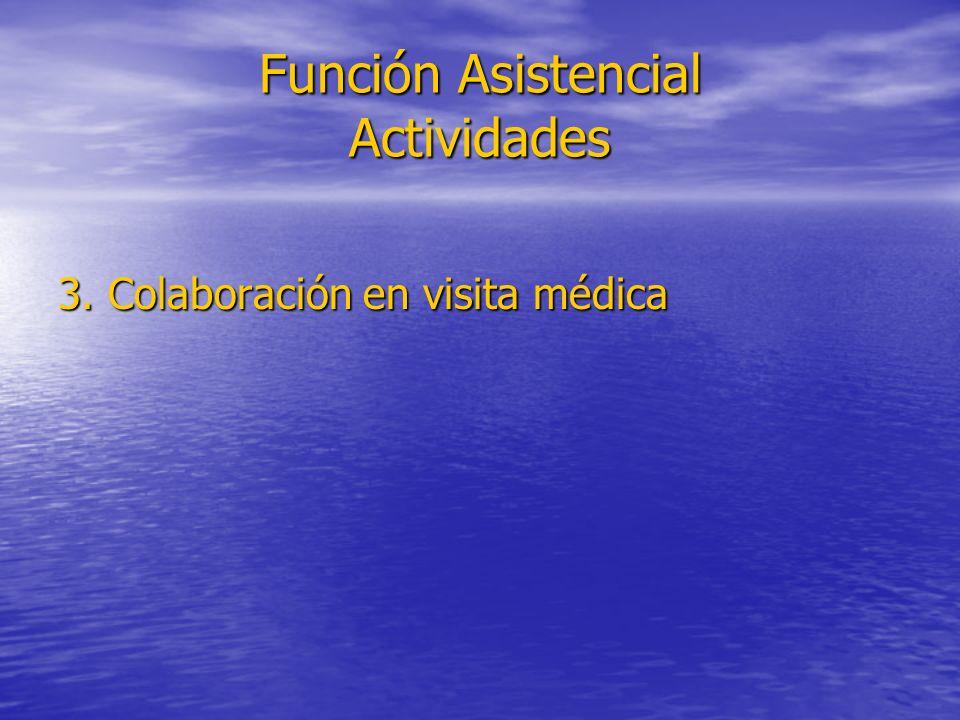 Función Asistencial Actividades 3. Colaboración en visita médica