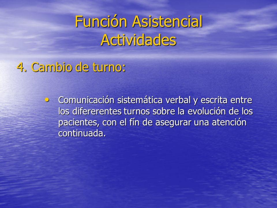 Función Asistencial Actividades 4. Cambio de turno: Comunicación sistemática verbal y escrita entre los difererentes turnos sobre la evolución de los