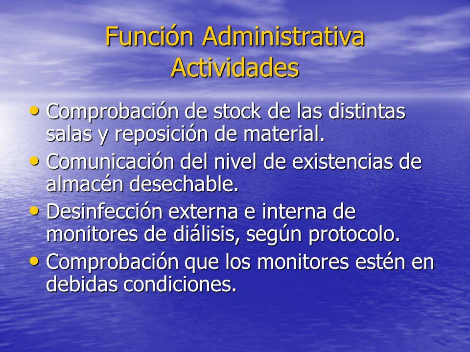Función Administrativa Actividades Comprobación de stock de las distintas salas y reposición de material. Comprobación de stock de las distintas salas