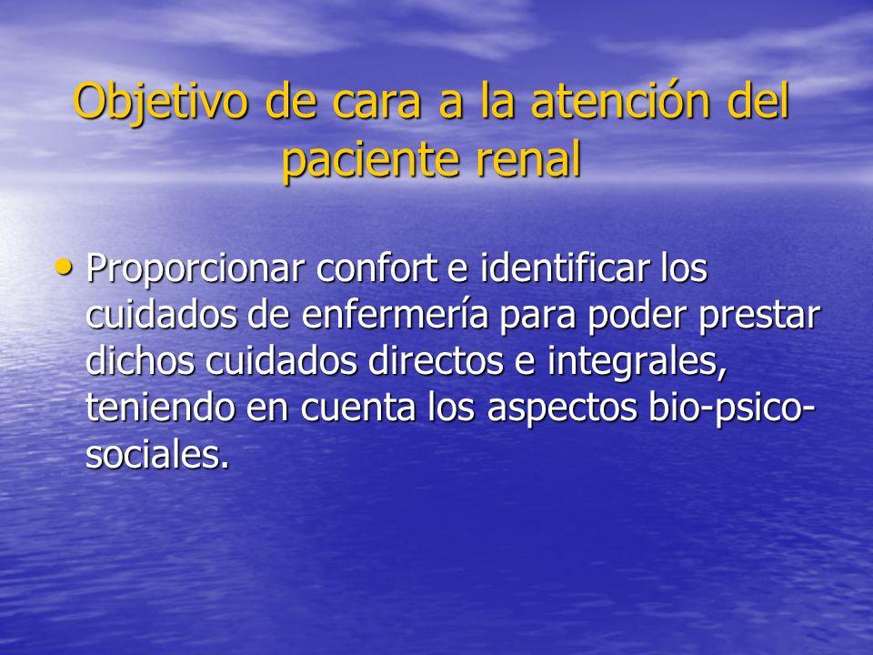 Objetivo de cara a la atención del paciente renal Proporcionar confort e identificar los cuidados de enfermería para poder prestar dichos cuidados dir