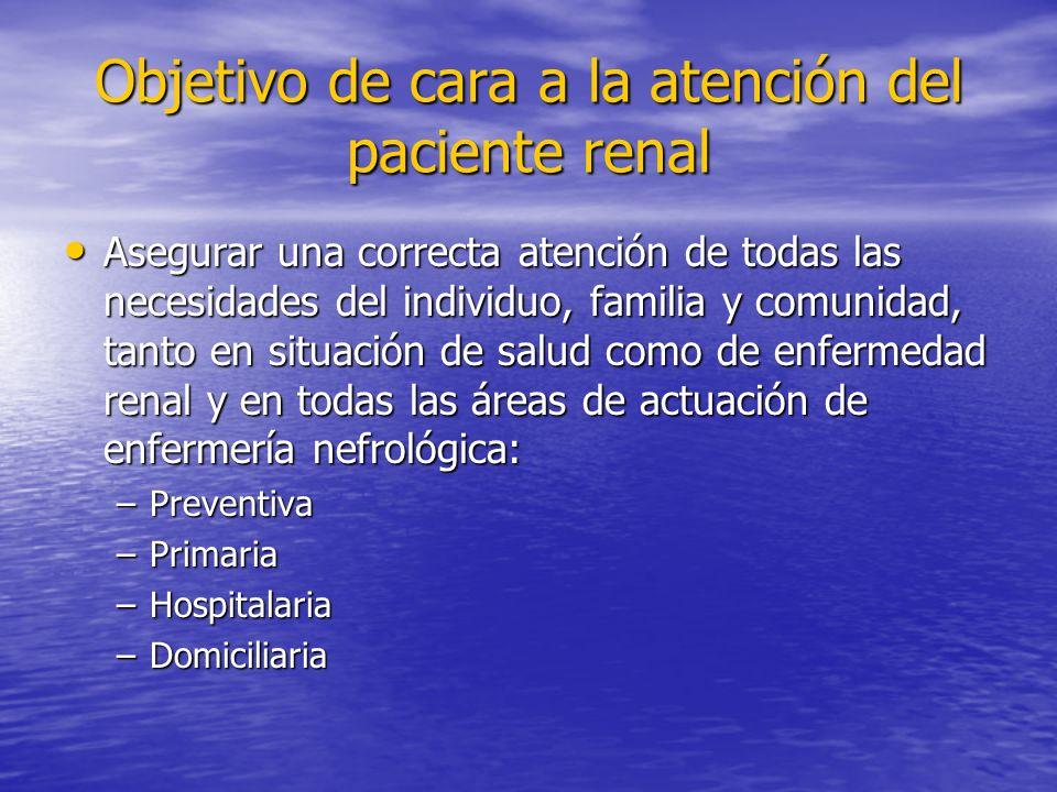 Objetivo de cara a la atención del paciente renal Asegurar una correcta atención de todas las necesidades del individuo, familia y comunidad, tanto en