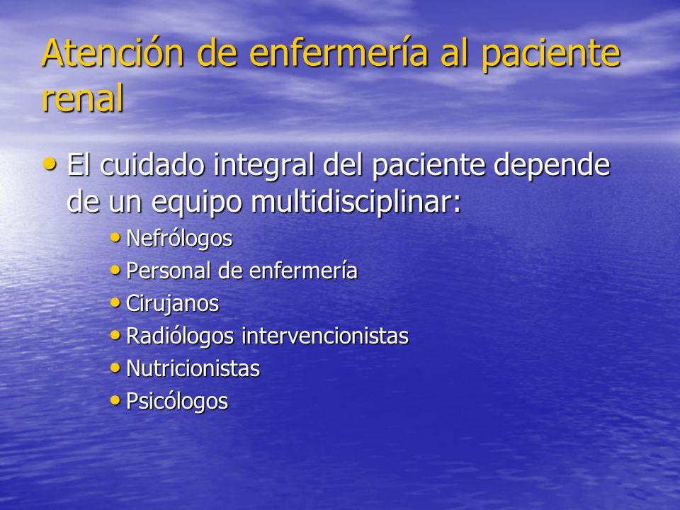 Atención de enfermería al paciente renal El cuidado integral del paciente depende de un equipo multidisciplinar: El cuidado integral del paciente depe