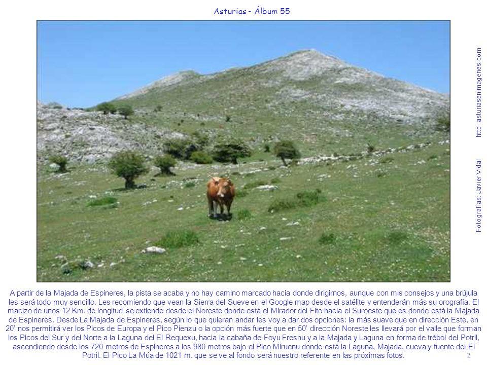 2 Asturias - Álbum 55 Fotografías: Javier Vidal http: asturiasenimagenes.com A partir de la Majada de Espineres, la pista se acaba y no hay camino mar