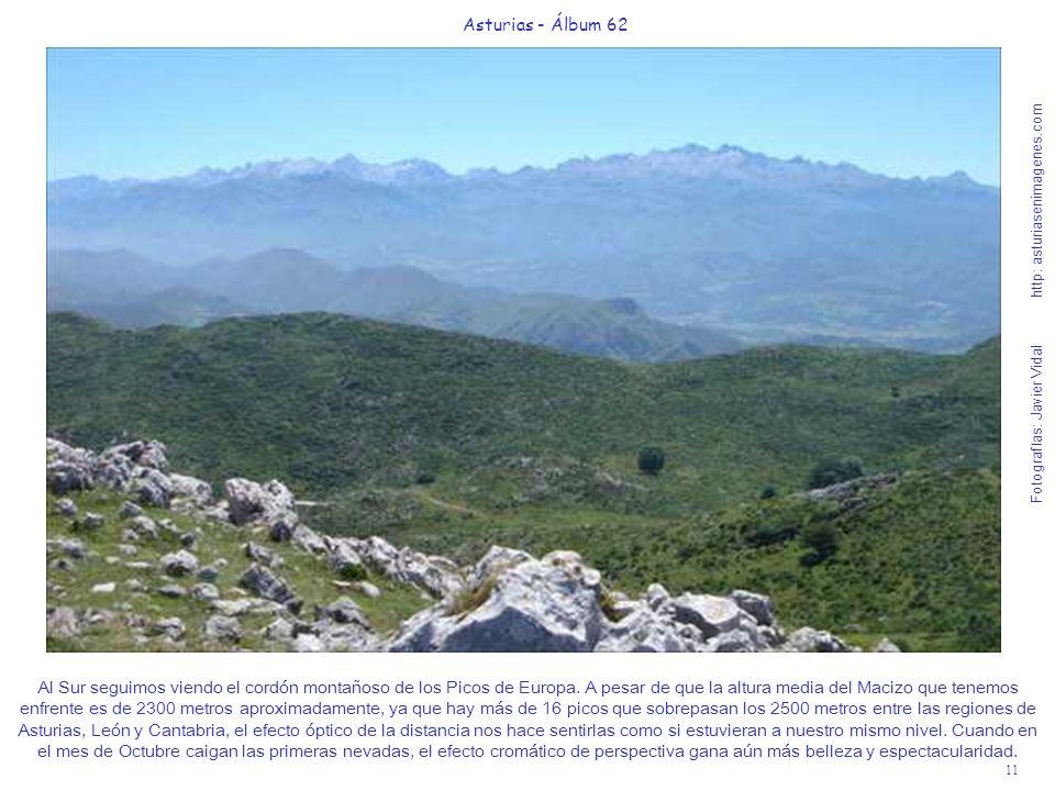 11 Asturias - Álbum 62 Fotografías: Javier Vidal http: asturiasenimagenes.com Al Sur seguimos viendo el cordón montañoso de los Picos de Europa. A pes