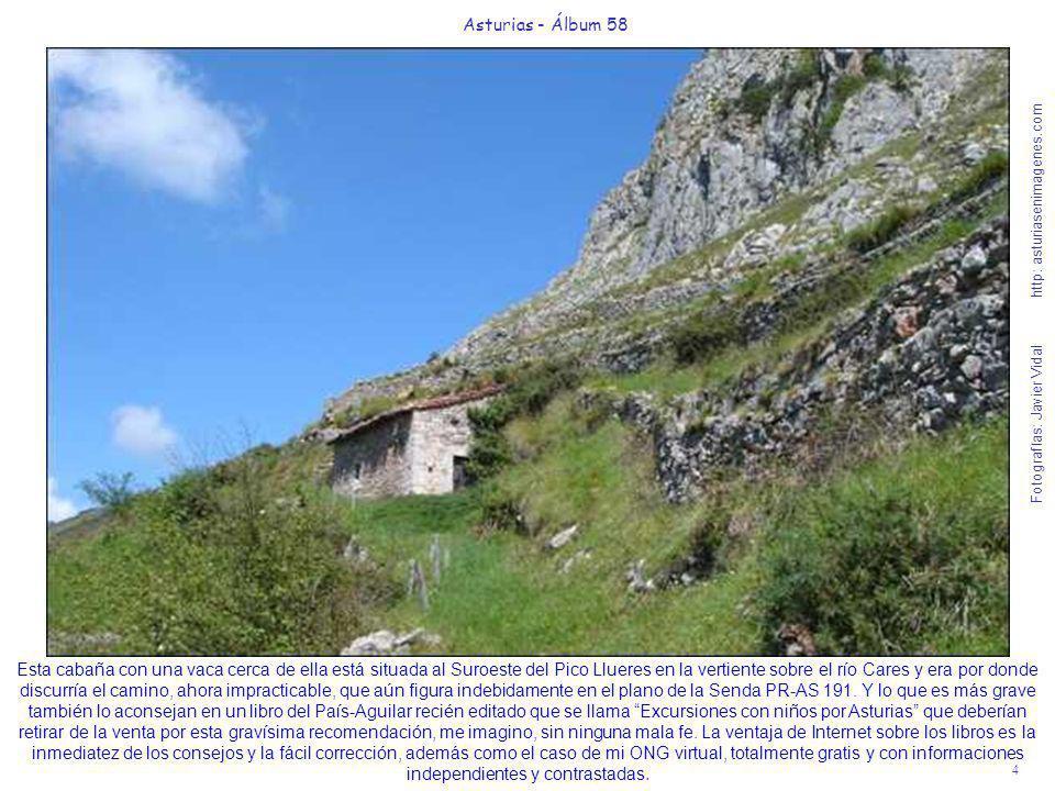4 Asturias - Álbum 58 Fotografías: Javier Vidal http: asturiasenimagenes.com Esta cabaña con una vaca cerca de ella está situada al Suroeste del Pico