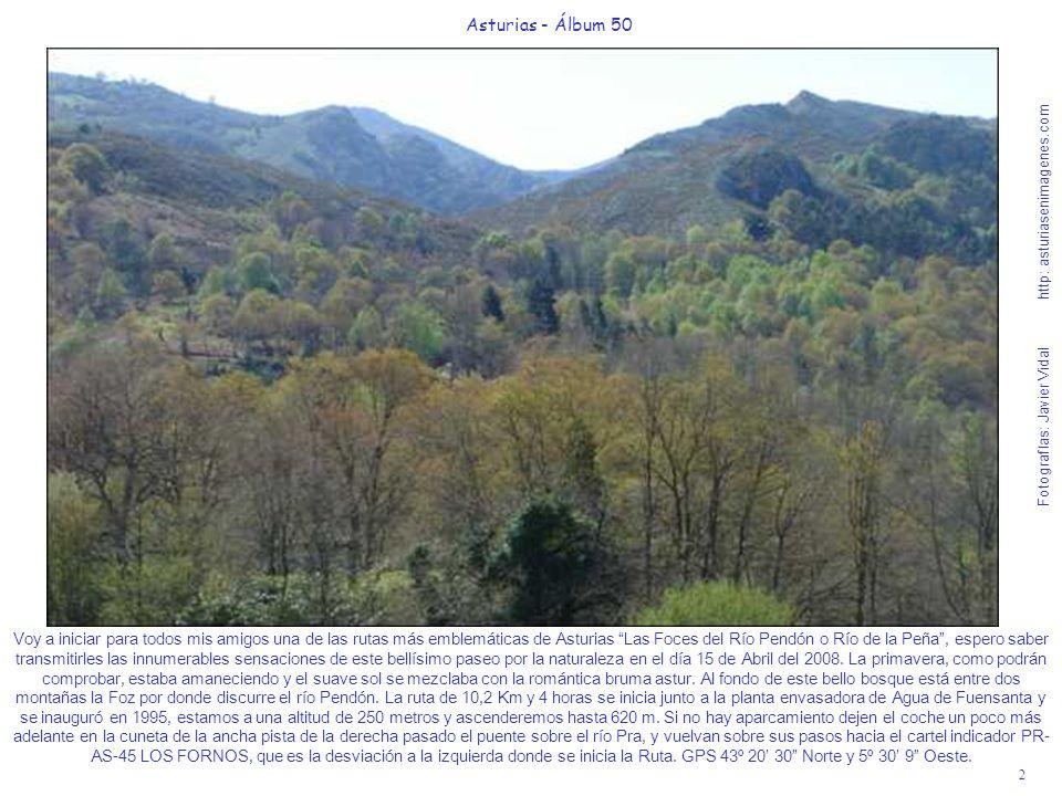 3 Asturias - Álbum 50 Fotografías: Javier Vidal http: asturiasenimagenes.com En media hora de suave ascensión por una pista apta para vehículos, llegamos a la Collada-Majada de Los Fornos, donde se inicia paralela al río Pendón, la ruta por las Foces o desfiladero del río Pendón.