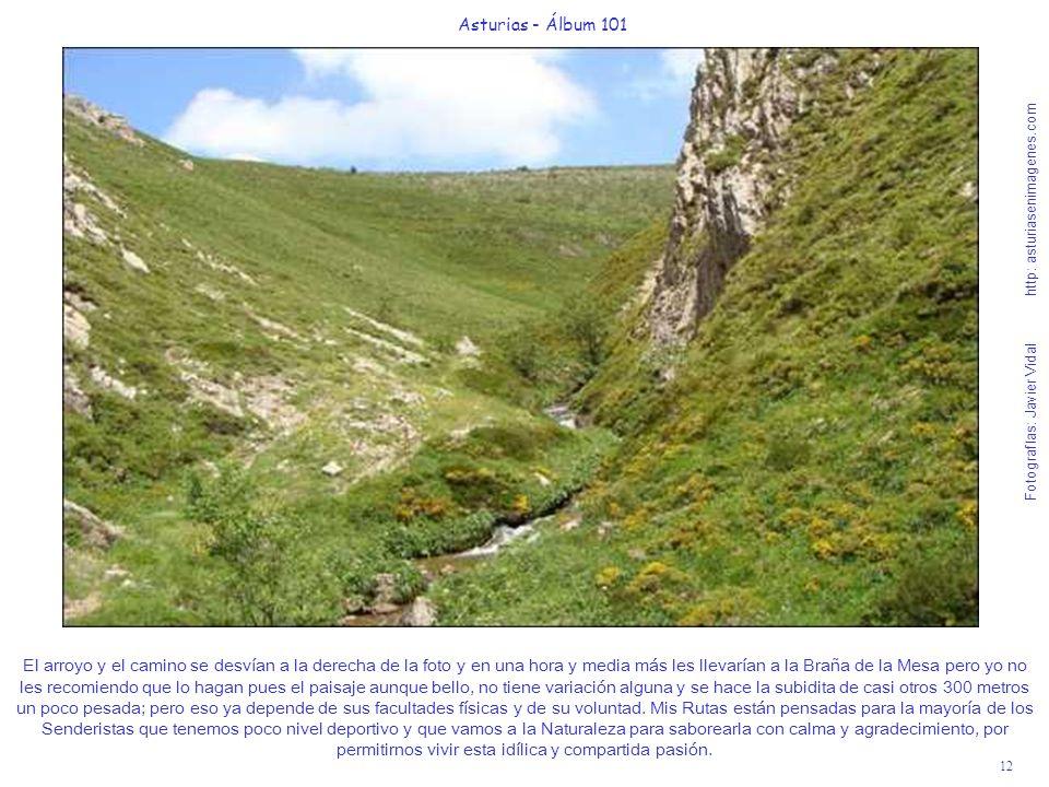 12 Asturias - Álbum 101 Fotografías: Javier Vidal http: asturiasenimagenes.com El arroyo y el camino se desvían a la derecha de la foto y en una hora