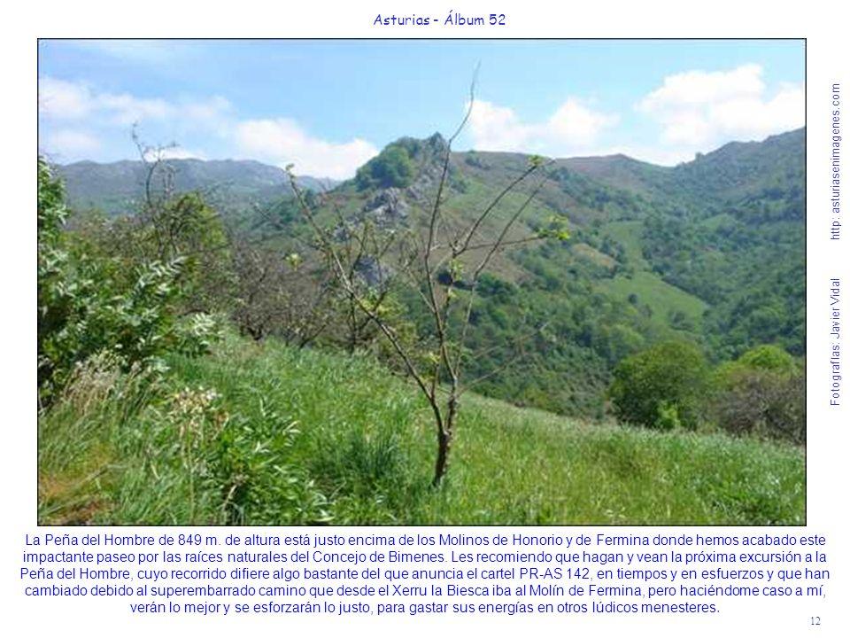 12 Asturias - Álbum 52 Fotografías: Javier Vidal http: asturiasenimagenes.com La Peña del Hombre de 849 m. de altura está justo encima de los Molinos