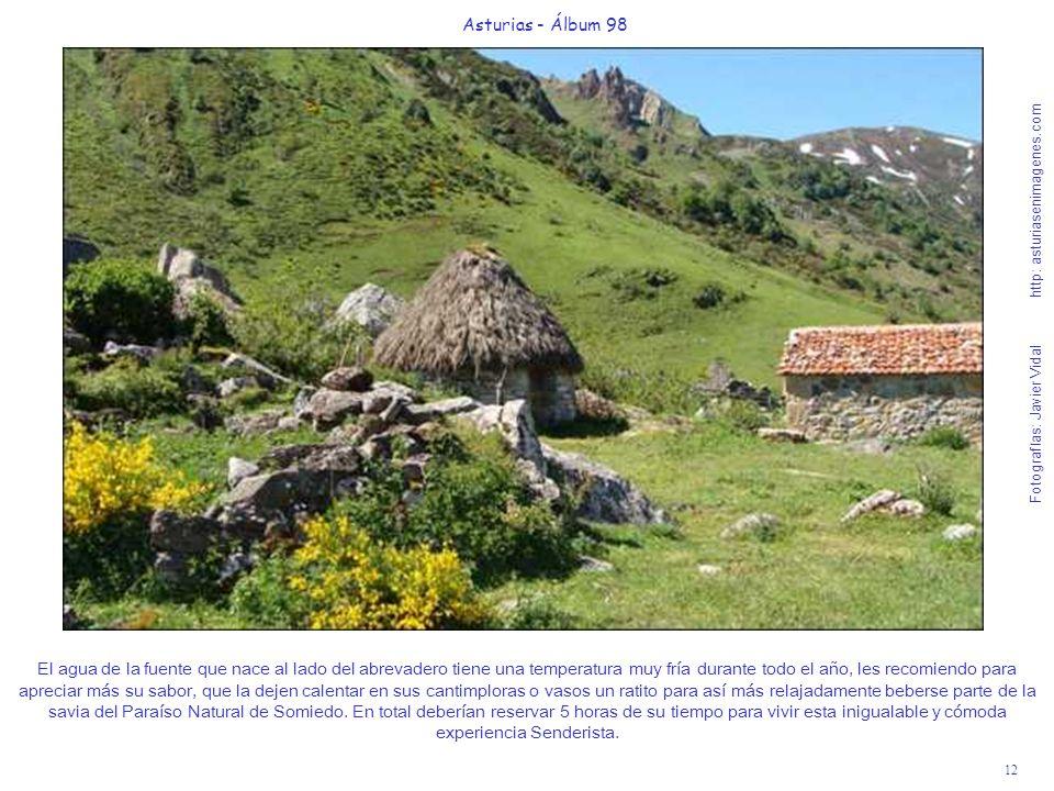 12 Asturias - Álbum 98 Fotografías: Javier Vidal http: asturiasenimagenes.com El agua de la fuente que nace al lado del abrevadero tiene una temperatu