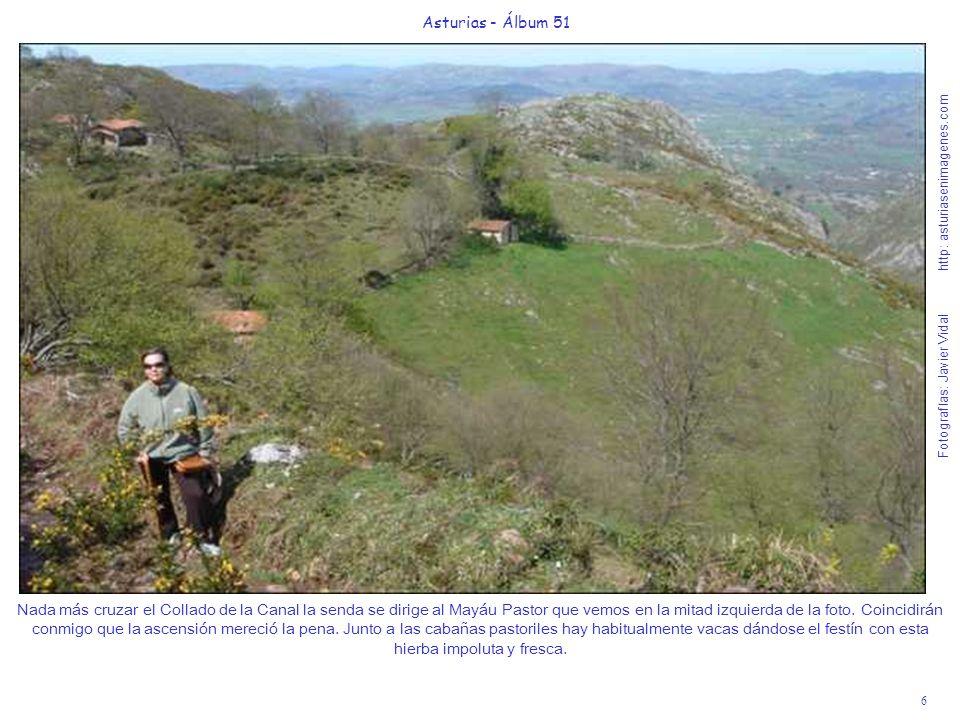 6 Asturias - Álbum 51 Fotografías: Javier Vidal http: asturiasenimagenes.com Nada más cruzar el Collado de la Canal la senda se dirige al Mayáu Pastor que vemos en la mitad izquierda de la foto.