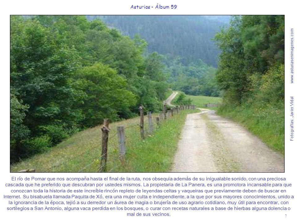 Fotografías: Javier Vidal www.asturiasenimagenes.com 7 Asturias - Álbum 59 El río de Pomar que nos acompaña hasta el final de la ruta, nos obsequia además de su inigualable sonido, con una preciosa cascada que he preferido que descubran por ustedes mismos.
