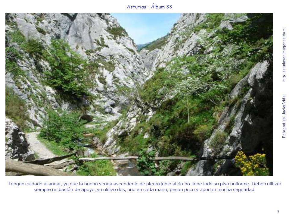8 Asturias - Álbum 33 Fotografías: Javier Vidal http: asturiasenimagenes.com Tengan cuidado al andar, ya que la buena senda ascendente de piedra junto al río no tiene todo su piso uniforme.