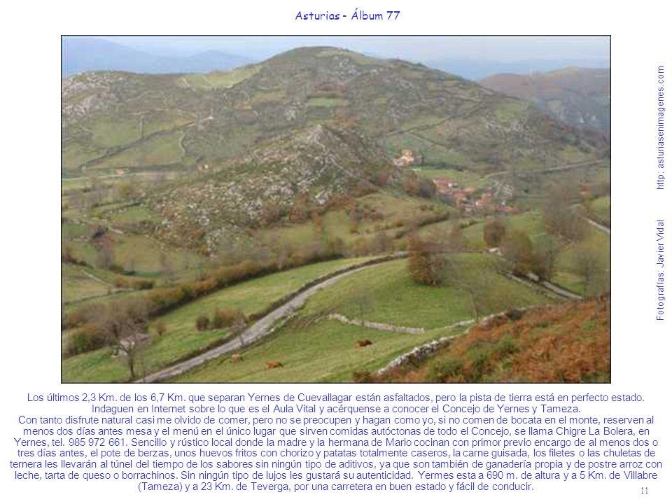 11 Asturias - Álbum 77 Fotografías: Javier Vidal http: asturiasenimagenes.com Los últimos 2,3 Km. de los 6,7 Km. que separan Yernes de Cuevallagar est