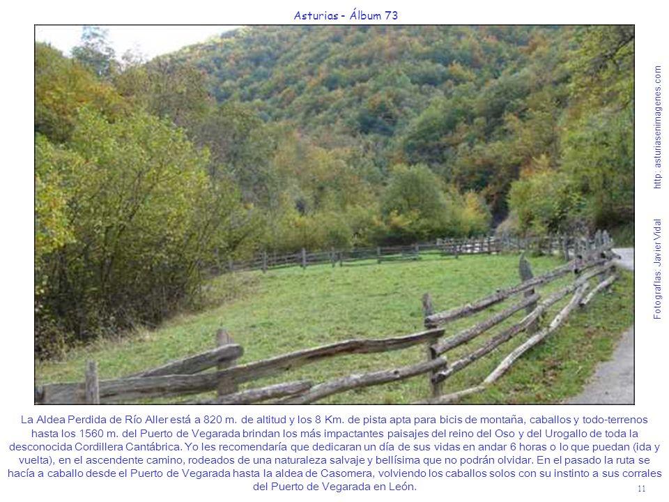 11 Asturias - Álbum 73 Fotografías: Javier Vidal http: asturiasenimagenes.com La Aldea Perdida de Río Aller está a 820 m. de altitud y los 8 Km. de pi