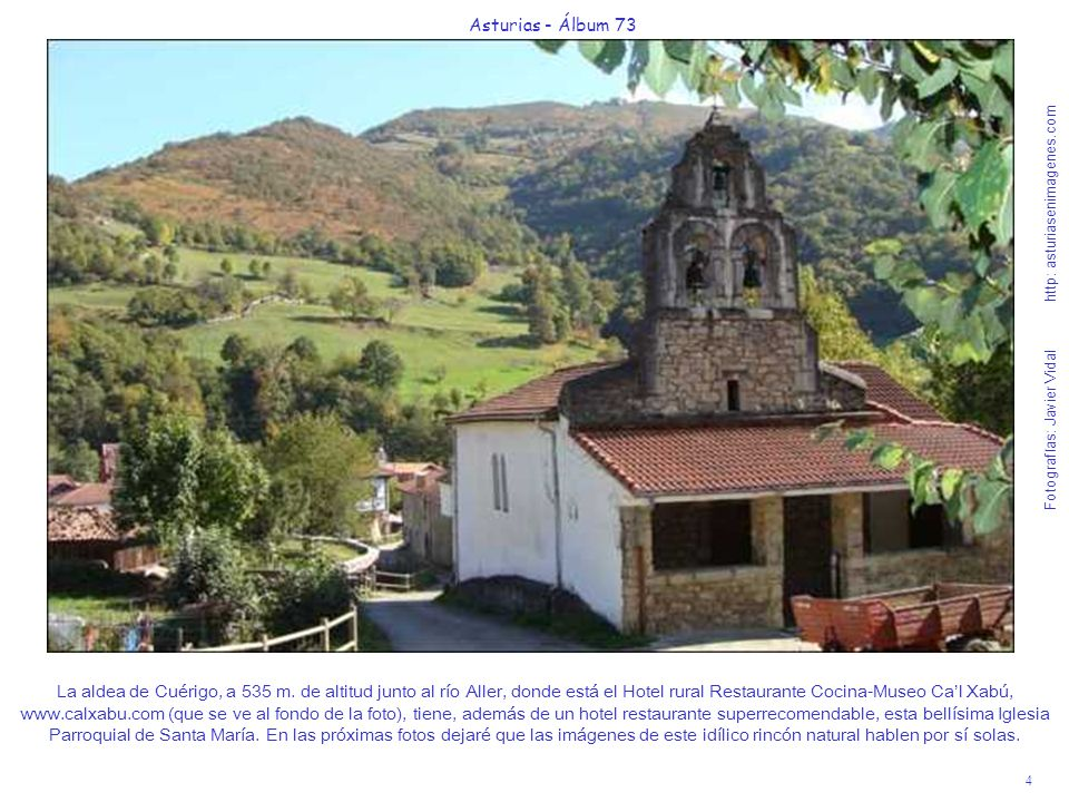 5 Asturias - Álbum 73 Fotografías: Javier Vidal http: asturiasenimagenes.com Por este sendero ascendente, voy a iniciar un paseo por los bosques de media ladera que rodean la aldea paradisíaca de Cuérigo en un soleado día a finales de Octubre de 2008.