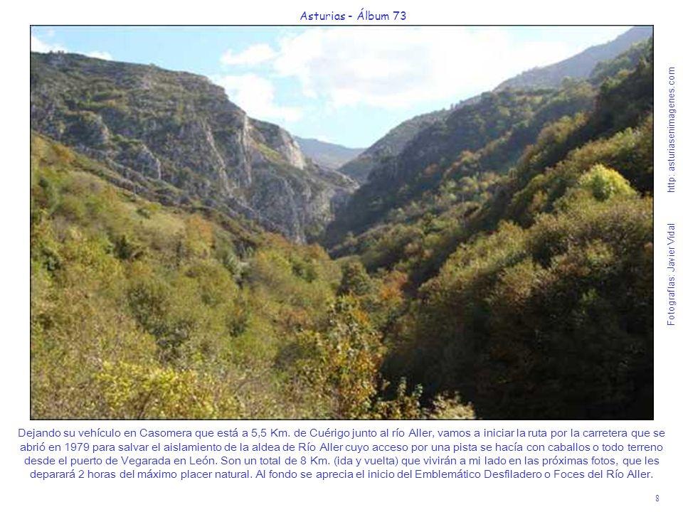 9 Asturias - Álbum 73 Fotografías: Javier Vidal http: asturiasenimagenes.com Las Foces o Desfiladero del Río Aller tienen unos 500 metros de Garganta quizás demasiado descarnada en comparación con la antigua Senda, pero comodísima para andarla junto al río Aller acompañados hasta de niños con silla.