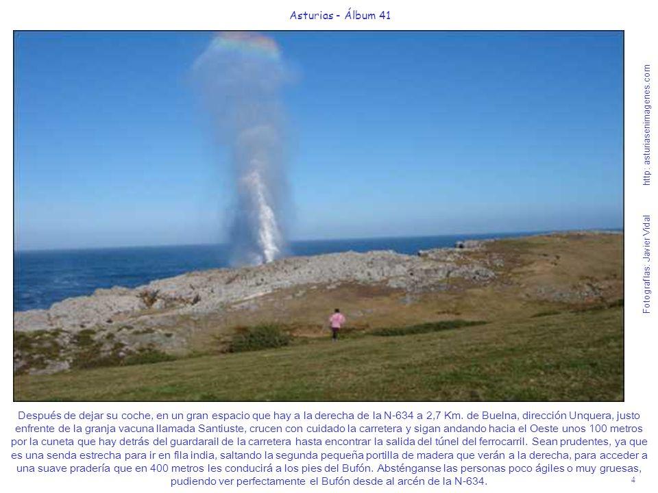 5 Asturias - Álbum 41 Fotografías: Javier Vidal http: asturiasenimagenes.com Como les decía, una vez saltada la portilla de madera verán el Bufón a unos 400 metros hacia el mar.