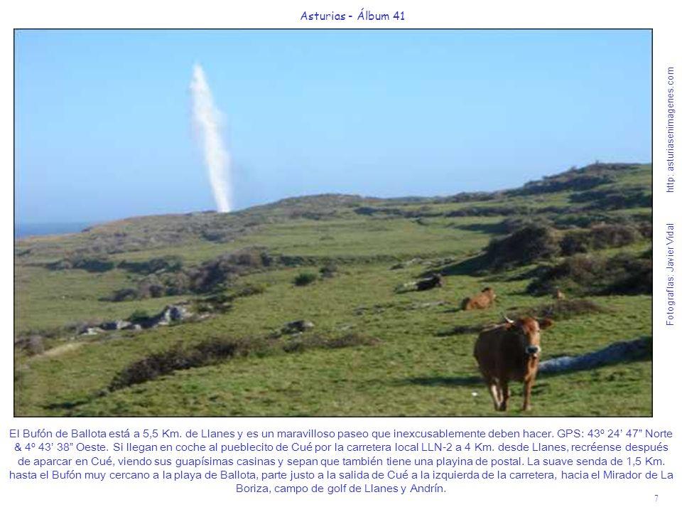 8 Asturias - Álbum 41 Fotografías: Javier Vidal http: asturiasenimagenes.com La senda hacia el Bufón de Ballota es una gozada apta para todo tipo de públicos, compartiendo su camino con uno de nuestros casi sagrados animales, las vacas lecheras de raza autóctona asturiana.