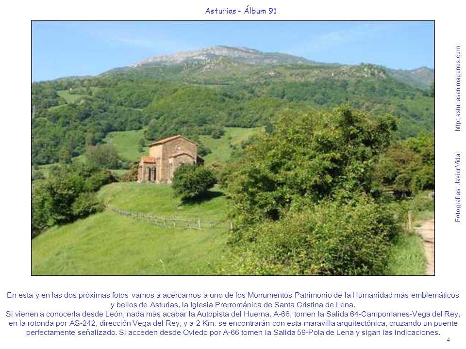 4 Asturias - Álbum 91 Fotografías: Javier Vidal http: asturiasenimagenes.com En esta y en las dos próximas fotos vamos a acercarnos a uno de los Monum