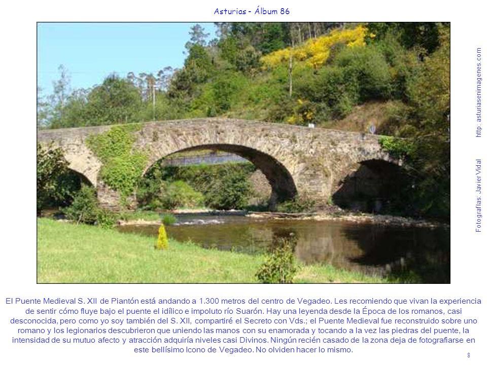 8 Asturias - Álbum 86 Fotografías: Javier Vidal http: asturiasenimagenes.com El Puente Medieval S. XII de Piantón está andando a 1.300 metros del cent