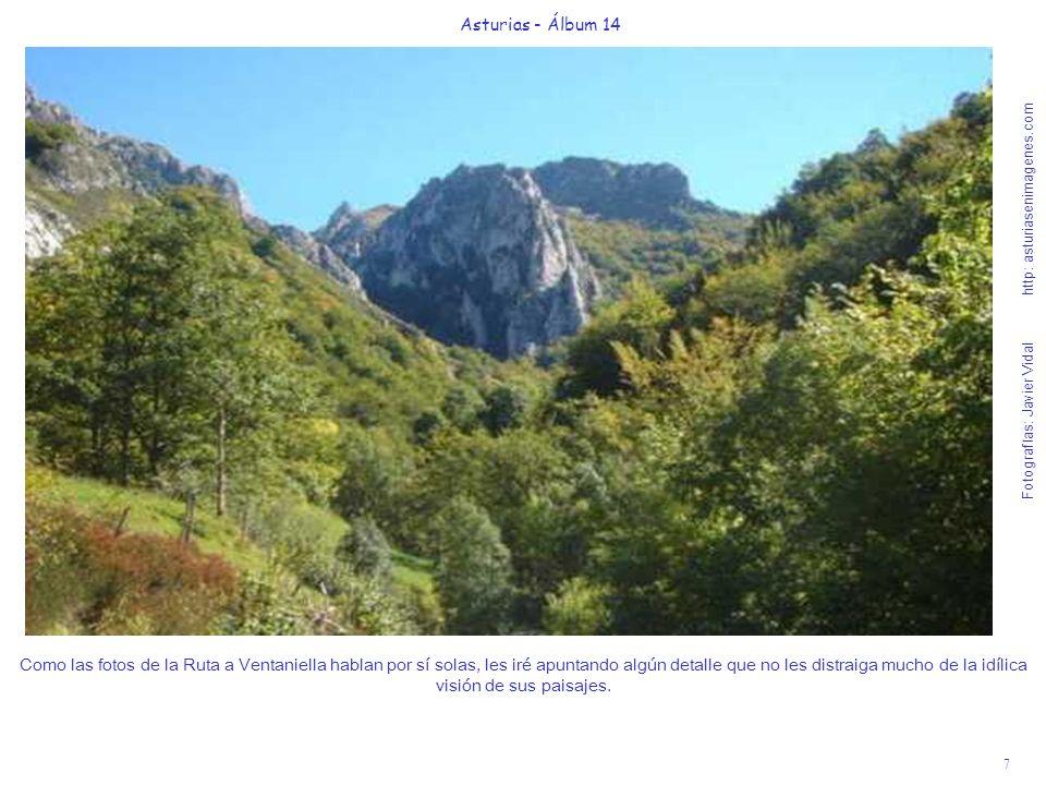 8 Asturias - Álbum 14 Fotografías: Javier Vidal http: asturiasenimagenes.com Es un privilegio acompañar al mítico, impoluto y truchero río Ponga, que bordea la Ruta, hasta su nacimiento en el Puerto de Ventaniella de 1420 metros de altura.