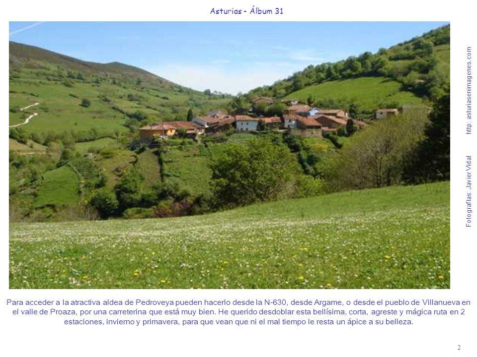 2 Asturias - Álbum 31 Fotografías: Javier Vidal http: asturiasenimagenes.com Para acceder a la atractiva aldea de Pedroveya pueden hacerlo desde la N-630, desde Argame, o desde el pueblo de Villanueva en el valle de Proaza, por una carreterina que está muy bien.